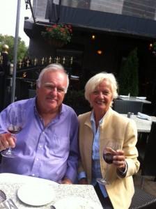 Pat and Bill enjoying snacks at VieuxPort Steakhouse